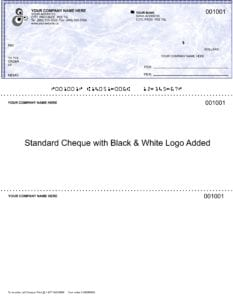 Standard cheque with black and white logo added
