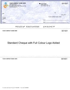 Example of laser / inkjet custom cheque
