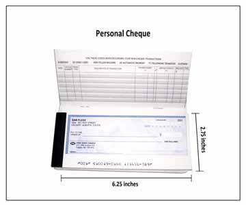 Dimensions of a custom printed personal cheque in Canada.