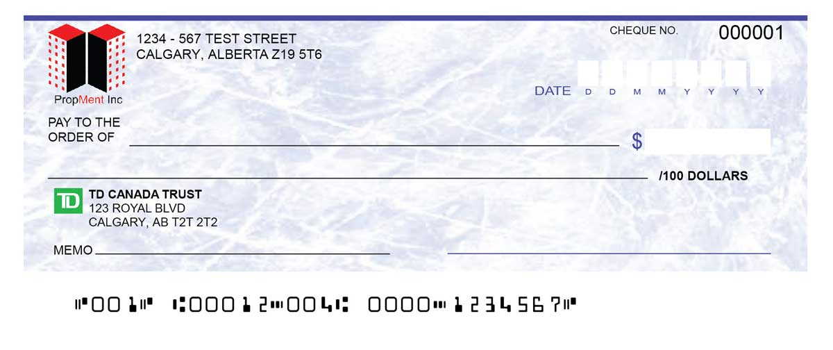 TD Personal Bank Cheques | Cheque Print