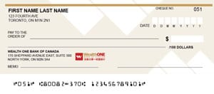 WealthONE Customer Personal Cheques by Cheque Print